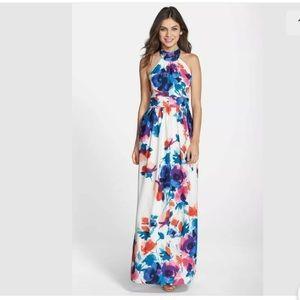 NWT Eliza J halter floral maxi dress beach wedding